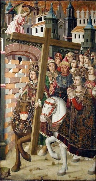 Saint Helena & Heraclius taking the Holy Cross to Jerusalem, Museo de Zaragoza, óleo sobre tabla (195 x 115 cm.) procedente del retablo de la Santa Cruz de Blesa, Teruel - foto preluat de pe ro.wikipedia.org