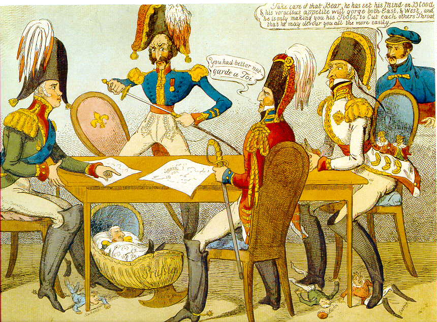Sfânta Alianță (Contemporary caricature of the Veronese congress, 1822) - foto preluat de pe en.wikipedia.org