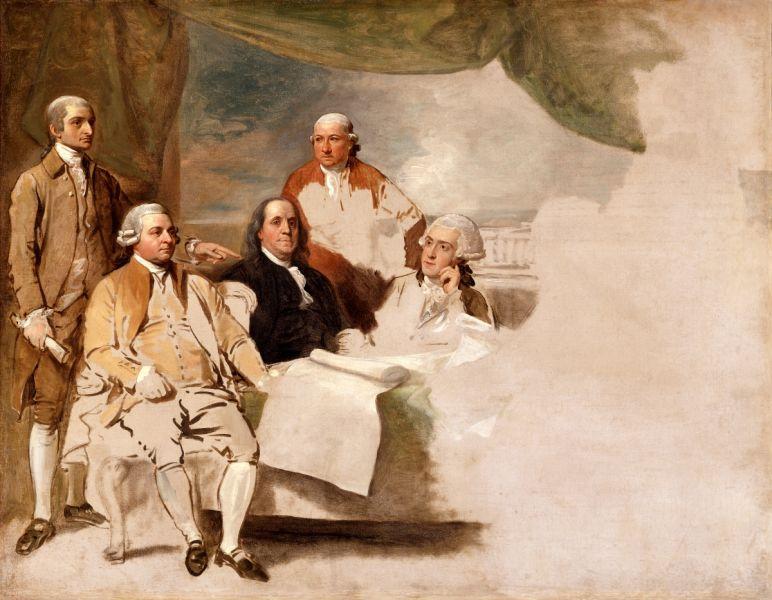 Pictură de Benjamin West înfăţişând delegaţia americană a semnării Tratatului de la Paris din 1783, John Jay, John Adams, Benjamin Franklin, Henry Laurens şi William Temple Franklin. Pictura nu a fost niciodată terminată pentru că, deloc surprinzător, reprezentanţii britanici au refuzat să fie înregistraţi - foto preluat de pe ro.wikipedia.org