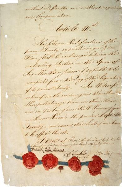 Tratatul de la Paris (3 septembrie 1783) - Ultima pagina a tratatului - foto preluat de pe en.wikipedia.org