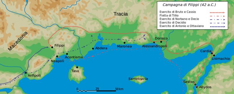 Bătălia de la Filippi (3 octombrie și 23 octombrie 42 î.Hr.) - Mişcările trupelor - foto preluat de pe ro.wikipedia.org