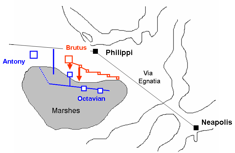 A doua bătălie de la Filippi  (23 octombrie 42 î.Hr.)- Parte a Războaielor civile romane - foto preluat de pe ro.wikipedia.org