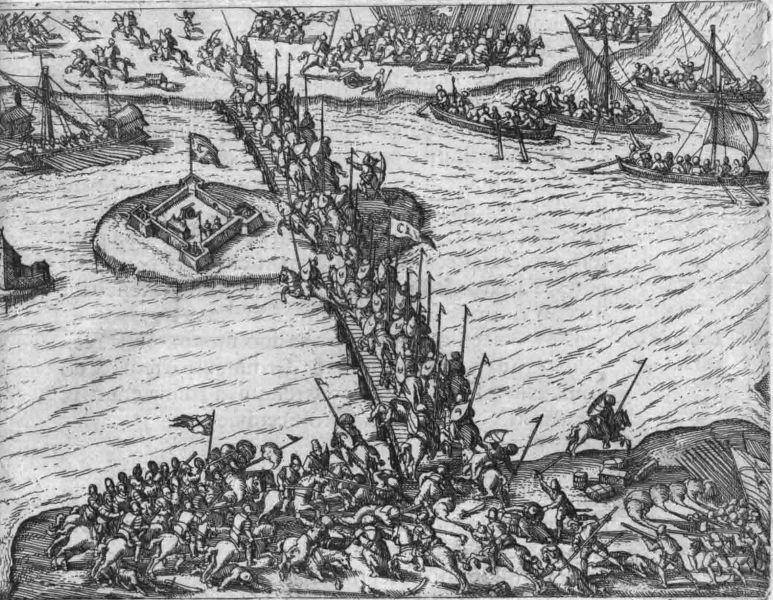 Bătălia de la Giurgiu (15-20 octombrie 1595) gravură din 1596 - foto preluat de pe ro.wikipedia.org