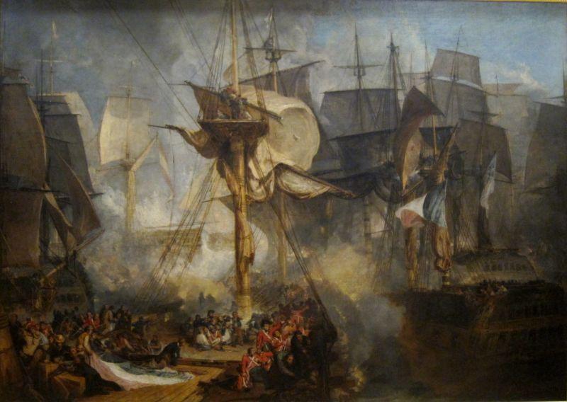 Bătălia de la Trafalgar (21 octombrie 1805) - parte a Războiului celei de-a Treia Coaliții (11 aprilie – 26 decembrie 1805) - The Battle of Trafalgar, as seen from the starboard mizzen shrouds of the Victory. J. M. W. Turner (oil on canvas, 1806–1808) - foto preluat de pe en.wikipedia.org