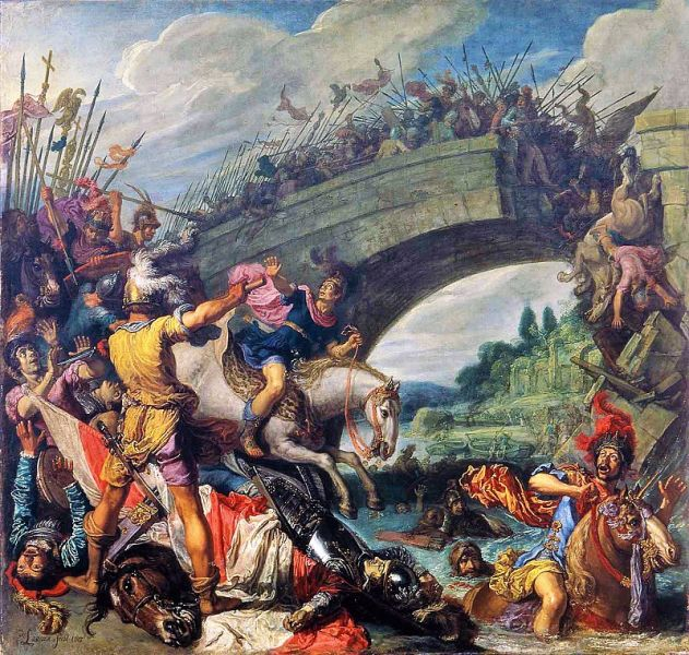 Bătălia de la Podul Milvius (28 octombrie, 312) -  pictura de Pieter Lastman - foto preluat de pe ro.wikipedia.org