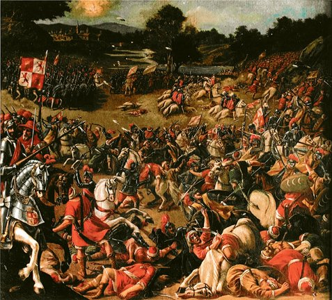 Battle of Río Salado  (30 October 1340) - Part of the Reconquista - Canvas of the battle by unknown 17th century author - foto preluat de pe en.wikipedia.org