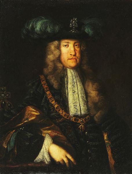 Carol al VI-lea (în germană Karl VI.) (n. 1 octombrie 1685, Viena - d. 20 octombrie 1740, Viena) a fost împărat al Sfântului Imperiu Roman din 12 octombrie 1711 și până la moarte, totodată rege al Ungariei sub numele de Carol al III-lea, rege al Boemiei sub numele de Carol al II-lea, principe al Transilvaniei etc. A fost fiul împăratului Leopold I și tatăl împărătesei Maria Tereza. A făcut parte din Casa de Habsburg. (Carol al VI-lea în simbolurile regale ale Ordinului lânii de aur; pictură atribuită lui Martin van Meytens) - foto preluat de pe ro.wikipedia.org