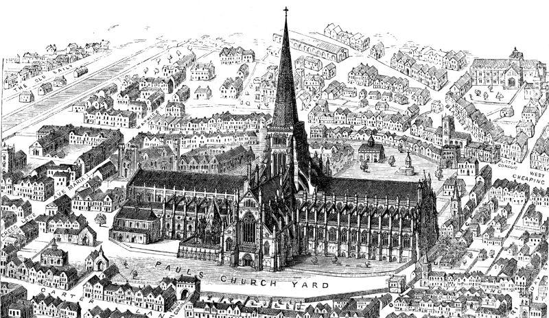 Catedrala Saint Paul  din Londra - Gravură medievală cu vechea catedrală gotică - foto preluat de pe ro.wikipedia.org