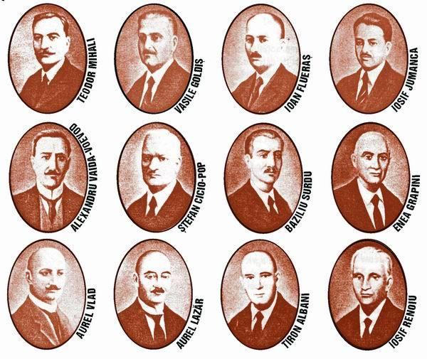Membrii Consiliului Naţional Român Central (octombrie 1918) - foto preluat de pe cersipamantromanesc.wordpress.com