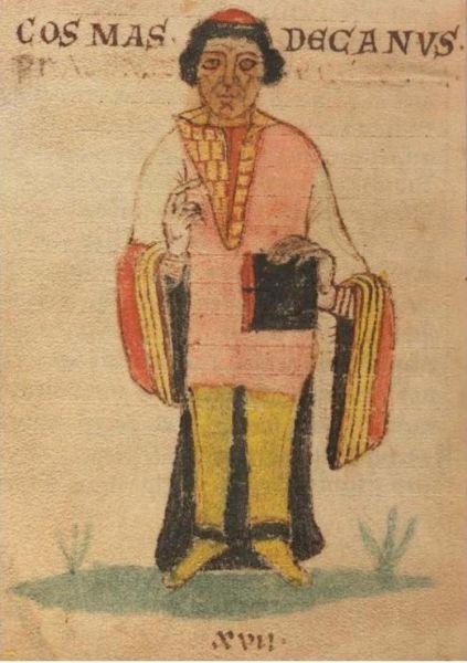 Cosmas din Praga (în cehă Kosmas Pražský; în latină Cosmas Decanus; c. 1045 – 21 octombrie 1125) a fost un preot, scriitor și istoric născut într-o familie nobilă din Boemia - Miniature depicting Cosmas, from Lipský rukopis, an early ms. of Chronica Boemorum - foto preluat de pe ro.wikipedia.org