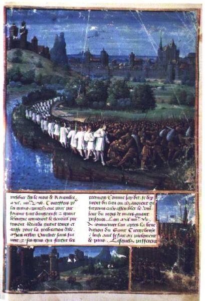 Cruciada țăranilor (aprilie - octombrie 1096) Înfrângerea umilitoare a armatei cruciaților țărani, miniatură din 1490 - foto preluat de pe ro.wikipedia.org