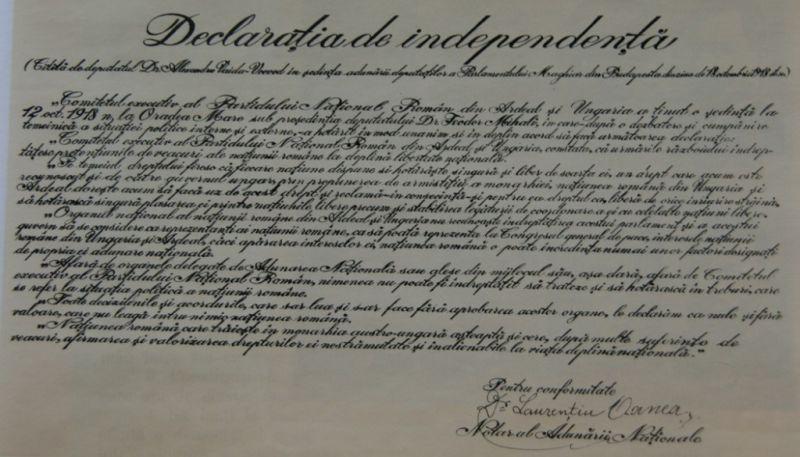 Declaraţia de independenţă faţă de Ungaria a poporului român din Transilvania, Banat şi părţile ungare (5/18 octombrie 1918) - foto preluat de pe cersipamantromanesc.wordpress.com