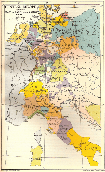 Map shows Central Europe after the Peace of Basel and the Treaty of Campo Formio - foto preluat de pe en.wikipedia.org