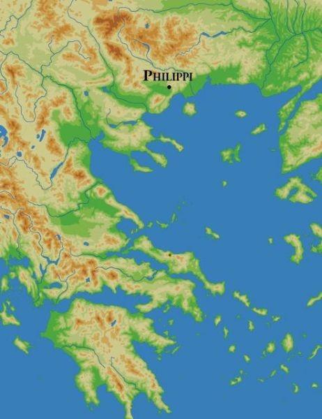 Bătălia de la Filippi - Parte a Războaielor civile romane (3 octombrie și 23 octombrie 42 î.Hr.) -  foto preluat de pe ro.wikipedia.org