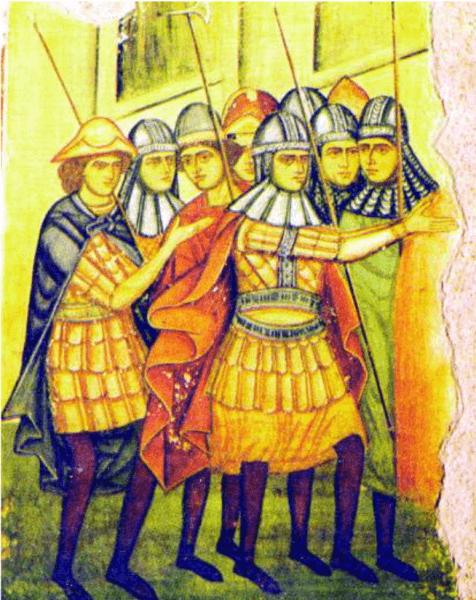Oșteni moldoveni (1500) - fresca la Manastirea Parhauti - foto preluat de pe ro.wikipedia.org