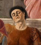 Piero de' Franceschi, numit della Francesca (n. 1420, Borgo San Sepolcro - d. 12 octombrie 1492, ibidem) a fost un pictor și matematician italian, a cărui operă - centrată aproape exclusiv pe teme cu caracter religios - a exercitat o influență puternică asupra multor pictori renascentiști, considerat inițiatorul acelui măreț curent artistic din Italia de la sfârșitul secolului al XV-lea și începutul celui de al XVI-lea - Autoportret. Detaliu din fresca Învierea lui Christos - foto preluat de pe ro.wikipedia.org