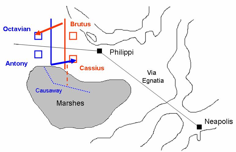 Prima bătălie de la Filippi (3 octombrie 42 î.Hr.) - Parte a Războaielor civile romane - foto preluat de pe ro.wikipedia.org