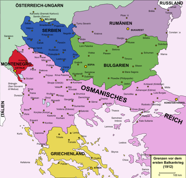 Political boundaries in the Balkans before the First Balkan War (8 October 1912 – 30 May 1913) - foto preluat de pe en.wikipedia.org