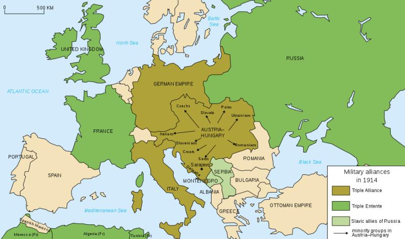 Alianțele militare europene înainte de Primul Război Mondial - foto preluat de pe ro.wikipedia.org