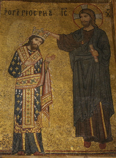 Roger al II-lea (n. 22 decembrie 1095, Mileto – d. 26 februarie 1154) a fost un normand din dinastia Hauteville, devenit rege al Siciliei - Roger II coronado por Cristo (Mosaico de la Iglesia de la Martorana; la inscripción reza Rogerios rex en letras griegas) - foto preluat de pe ro.wikipedia.org