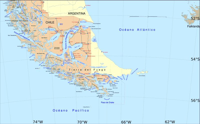 Strâmtoarea Magellan se află la sudul Americii de Sud, ocolind numeroase insule și despărțind America de Sud (Chile și Argentina) de Țara de Foc (Tierra del Fuego) - foto preluat de pe en.wikipedia.org