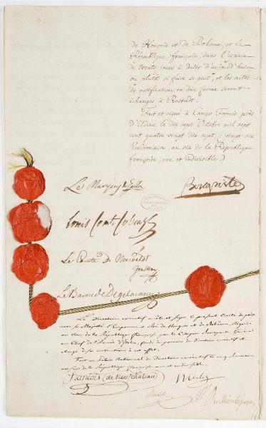 Tratatul de la Campo Formio (18 octombrie 1797) - Ultima pagină a tratatului cu sigiliile și inițialele semnatarilor, păstrată în Arhivele Naționale ale Franței. Tratatul de pace finală încheiat între Republica Franceză și Împăratul, Regele Ungariei și Boemia - foto preluat de pe en.wikipedia.org