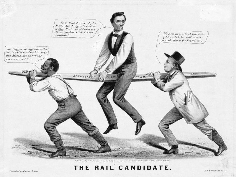 """""""Candidatul Traversă"""" - candiatura lui Lincoln din 1860 descrisă ca fiind susținută de chestiunea sclaviei - un sclav în stânga, și de organizația de partid (în dreapta) - foto preluat de pe ro.wikipedia.org"""