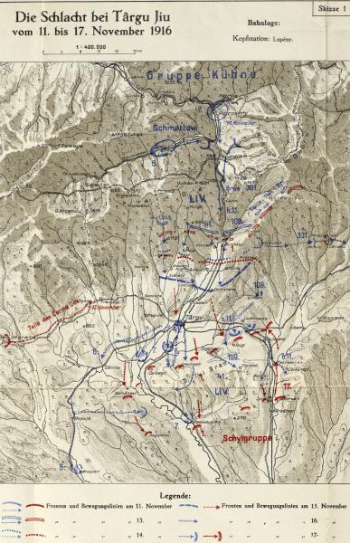 Bătălia de la Târgu Jiu (3/16 noiembrie - 4/17 noiembrie 1916) - Parte din Participarea României la Primul Război Mondial (Desfăşurarea acţiunilor militare) - foto preluat de pe ro.wikipedia.org