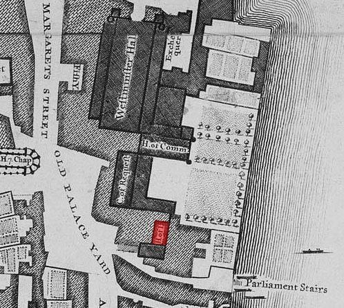 Camera Lorzilor (evidențiată cu roșu) pe harta Londrei din 1746 a lui John Rocque, în Vechiul Palat Westminster - foto preluat de pe ro.wikipedia.org