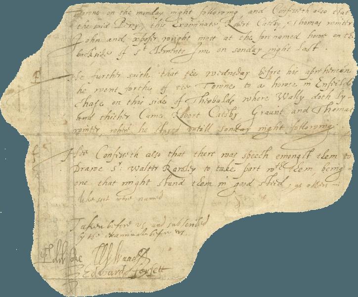 Complotul prafului de pușcă (5 noiembrie 1605) - Parte dintr-o mărturisire a lui Guy Fawkes. Semnătura slabă, făcută la scurt timp după tortură, este vag vizibilă sub cuvântul good (dreapta-jos) - foto preluat de pe ro.wikipedia.org