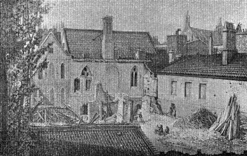 Ilustrație din secolul al XIX-lea a capătului estic al Camerei Prințului (extrema stânga) și peretele de est al Camerei Lorzilor (centru) - foto preluat de pe ro.wikipedia.org