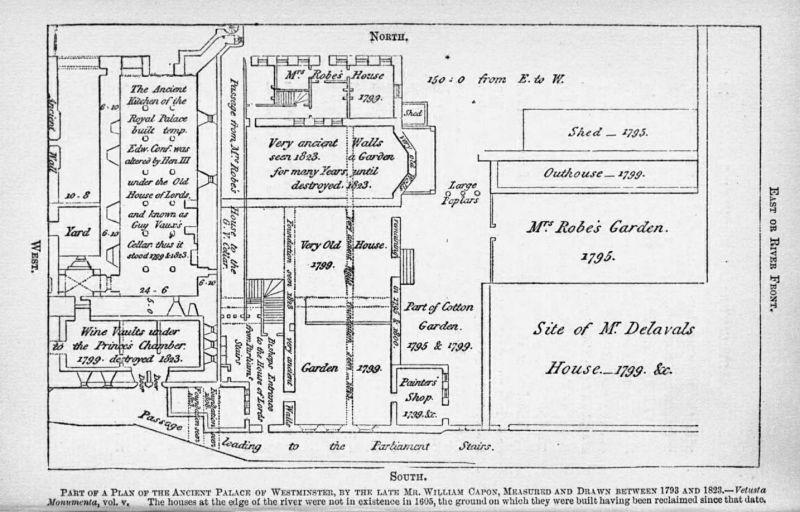 """Harta Parlamentului de William Capon etichetează clar beciul folosit de """"Guy Vaux"""" pentru a depozita praful de pușcă - foto preluat de pe ro.wikipedia.org"""