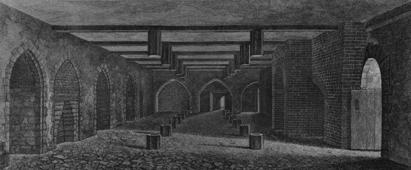 Beciul de sub Camera Lorzilor, ilustrat în 1799. Cam în același timp, el era descris ca având 77 de picioare lungime, 24 picioare și 4 țoli lățime și 10 metri înălțime - foto preluat de pe ro.wikipedia.org