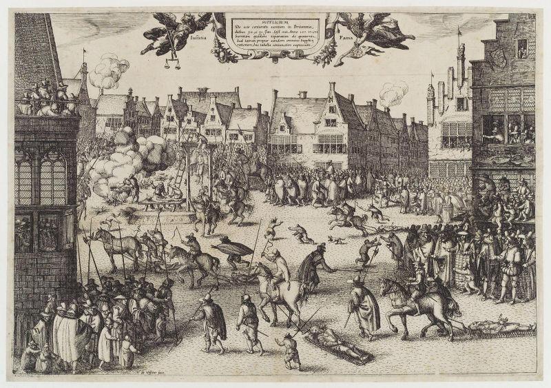 Complotul prafului de pușcă (5 noiembrie 1605) - Stampă a execuției complotiștilor prafului de pușcă prin spânzurare, târâre și sfârtecare (by Claes Janszoon Visscher) - foto preluat de pe ro.wikipedia.org