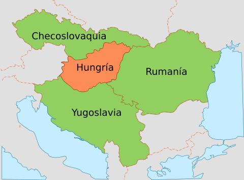 România Mare și Mica Antantă (cu verde deschis), și inamicul lor, Regatul Ungariei - foto preluat de pe ro.wikipedia.org