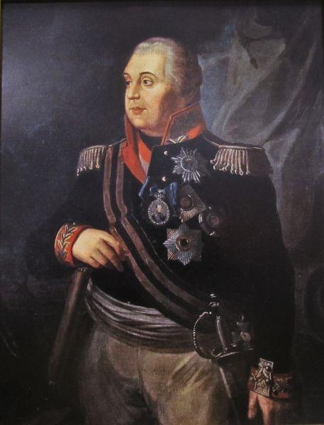 Prințul Mihail Illarionovici Golenișcev-Kutuzov (*5 septembrie {s.v.)/ 16 septembrie(s.n.) – 1745 — † 16/28 aprilie 1813 a fost un feldmareșal țarist, căruia i se atribuie meritul salvării țării în timpul invaziei napoleoniene din 1812 - foto preluat de pe en.wikipedia.org