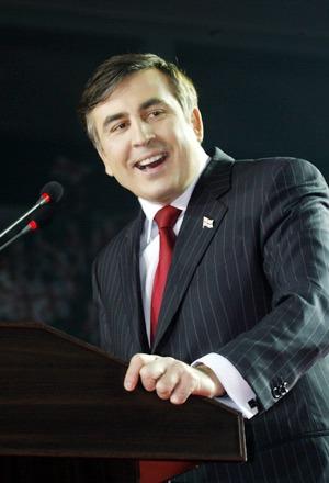 Miheil Saakaşvili (n. 21 decembrie 1967, Tbilisi) este un politician georgiano-ucrainean,care fost preşedinte al Georgiei de la 25 ianuarie 2004 până la 17 noiembrie 2013. În prezent este guvernator al regiunii Odesa din Ucraina - (Georgian President Mikheil Saakashvili in Tbilisi, March 22, 2008) - foto preluat de pe ro.wikipedia.org
