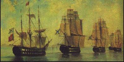 Războiul Ruso-Turc (1806–1812) - Flota rusă după bătălia de la Athos, tablou de Alexei Bogoliubov (1824-96) - foto preluat de pe ro.wikipedia.org