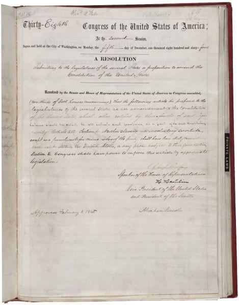 Al treisprezecelea amendament al Constituției SUA, prin care era abolită sclavia - foto preluat de pe ro.wikipedia.org