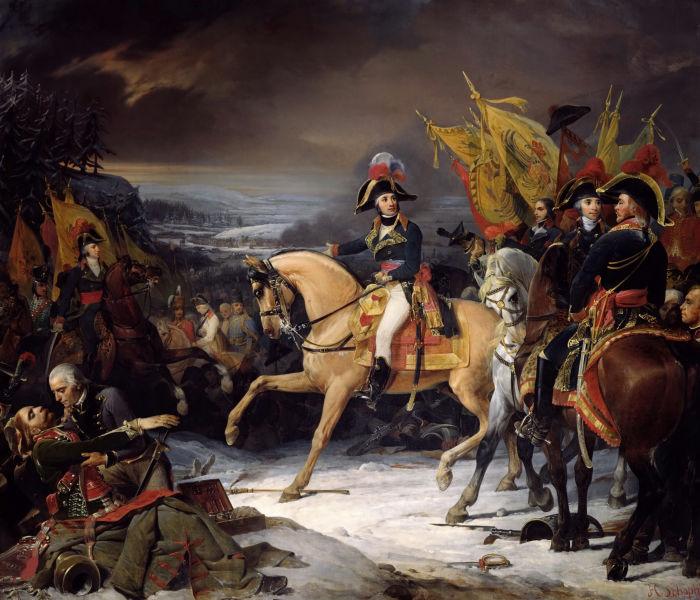 Bătălia de la Hohenlinden ( 3 decembrie 1800) Parte din Războiului celei de a Doua Coaliții (Jean Victor Marie Moreau la Hohenlinden - Galerie des Batailles, Palatul Versailles) - foto preluat de pe ro.wikipedia.org