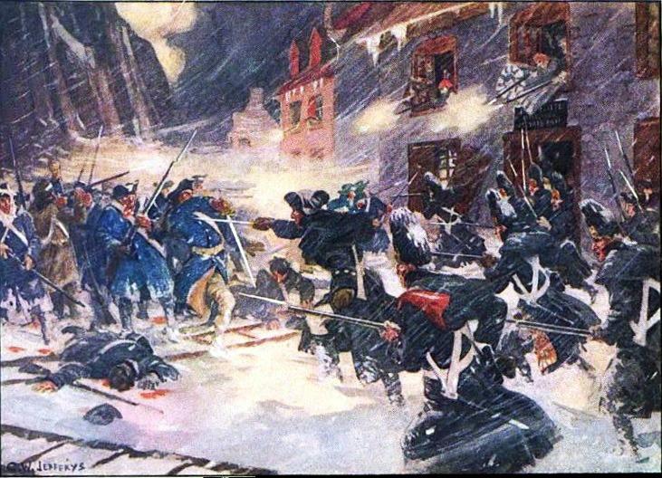 Bătălia de la Quebec (31 decembrie 1775) - Soldaţi canadieni şi britanici atacând coloana lui Arnold în Sault-au-Matelot pictură de C. W. Jefferys - foto preluat de pe ro.wikipedia.org