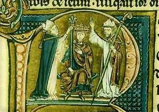 Baldwin's coronation, as illustrated in a 13th century text (Bibliothèque nationale de France) - foto preluat de pe en.wikipedia.org