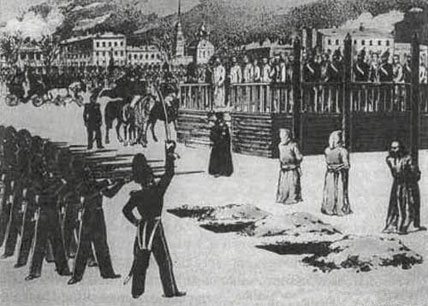 Schiță reprezentând execuția înscenată a membrilor Cercului Petrașevski (23 decembrie 1849) - foto preluat de pe ro.wikipedia.org