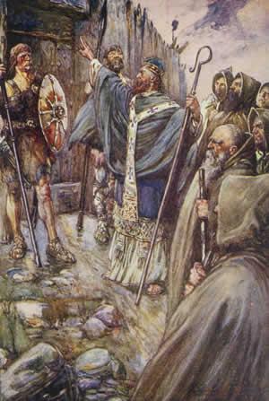 """Slăvitul și de Dumnezeu-purtătorul Părintele nostru Columba din Iona, Luminătorul Scoției (7 decembrie 521 - 9 iunie, 597) (cunoscut și sub numele de Columcille care înseamnă """"Porumbelul Bisericii"""") a fost un propovăduitor irlandez care a ajutat la reintroducerea creștinismului în Scoția și în Nordul Angliei - (Saint Columba, Apostle to the Picts) foto preluat de pe en.wikipedia.org"""