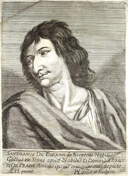 Hector Savinien de Cyrano de Bergerac (n. 6 martie 1619, Paris, Regatul Franței – d. 28 iulie 1655, Sannois, Franța) a fost un dramaturg și eseist francez. Prin utopiile sale filozofice, a fost un precursor al iluminismului - foto preluat de pe en.wikipedia.org