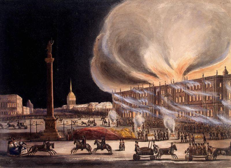 Incendiu în Palatul de Iarnă de Boris Green - foto preluat de pe ro.wikipedia.org