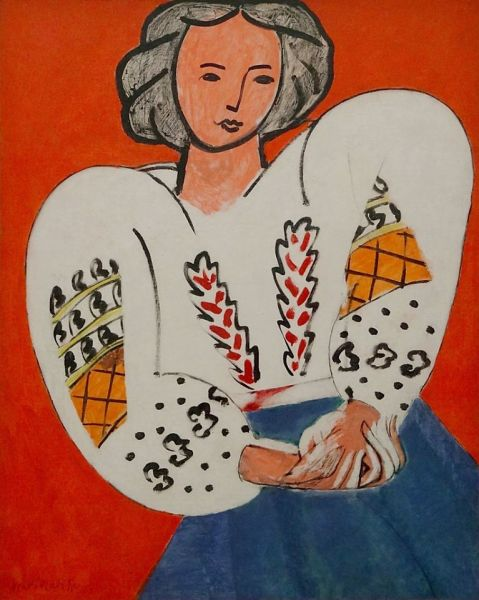 La Blouse Roumaine is an oil-on-canvas painting by Henri Matisse from 1940. It measures 92 × 73 cm and is held at the Musée National d'Art Moderne in Paris. The inspiration for the painting seems to have been Elvira Popescu, Elena Văcărescu, Anna de Noailles and Marthe Bibesco - foto preluat de pe www.facebook.com