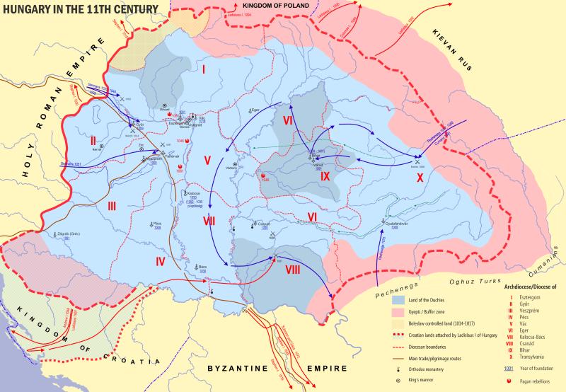 Regatul Ungariei la sfârşitul secolului al XI-lea - foto preluat de pe ro.wikipedia.org