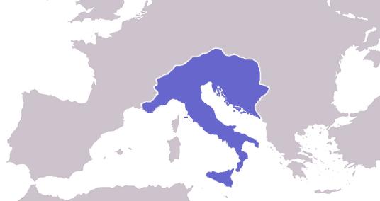 Regatul ostrogoților la maxima extindere, în timpul domniei lui Theodoric cel Mare (471 – 526) - foto preluat de pe ro.wikipedia.org