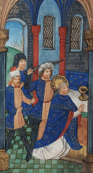 Thomas Becket (c. 1118, Londra – d. 29 decembrie 1170, Canterbury) a fost arhiepiscop de Canterbury din 1162 până în 1170, în timpul regelui Henric al II-lea Plantagenet. Este venerat ca sfânt și martir și de Biserica Catolică și de Biserica Anglicană. Ridicându-se împotriva limitării drepturilor bisericii de către puterea regală, a fost ucis din ordinul regelui - foto preluat de pe ro.wikipedia.org